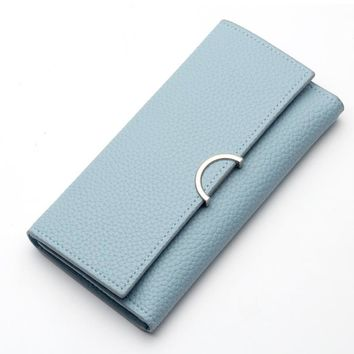 Pink Class Leather Women Wallet Long Creative Female Card Holder Solid Casual Zip Hasp Ladies Clutch Coin Purse ID Holder