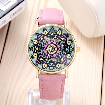 New Fashion 5 colors Lovely pink Geneva Women Dress Watch Casual Big Dial  Fantastic Girls Watch Women clock = 1956454916