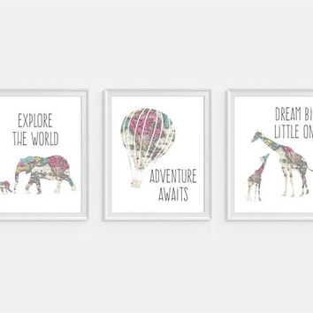 Dream Big Wall Art, Giraffe Art, Nursery Decor, Elephant Art Print, Adventure Awaits, Set of 3, Hot Air Balloon, Map Nursery Art, Map Art