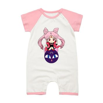 2017 Fashion New Baby Girls Romper Jumpsuit Sailor Moon Printing Summer Newborn Baby Clothing Infant Cotton Clothes