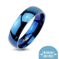 STR-0106 6mm Stainless Steel Mirror Polished Blue IP Dome Wedding Band Ring Sz 5-13 (10)