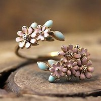 Dainty Floral Open Ring Colorful Flower Adjustable Ring Free Size Plated Jewelry