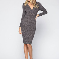 PLUNGE WRAP SPECKLED KNIT MIDI DRESS