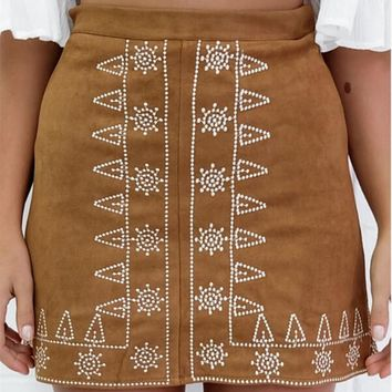 Embroidered Suede Hip A-Line Skirt