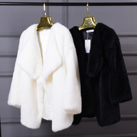 Irregular artificial wool fur flush coat Black white