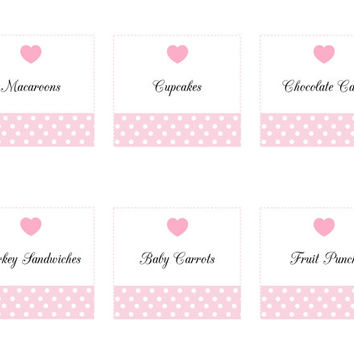 Pink Heart Polka Dot Baby Shower Party Printable Food Labels: INSTANT DOWNLOAD