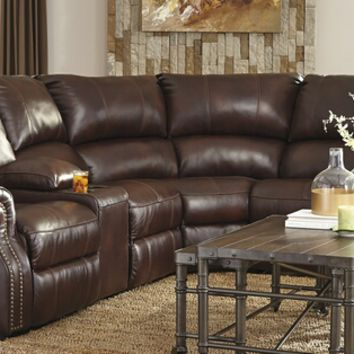 6 pc collinsville ii collection chestnut colored leather match sectional sofa with three recliners with console