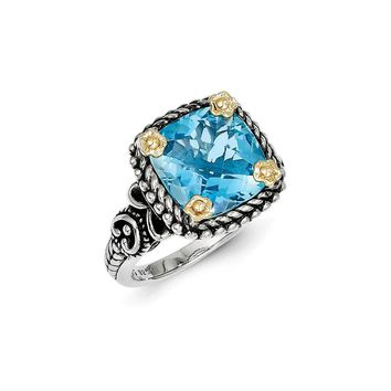 Antique Style Sterling Silver with 14k Yellow Gold 4.50 Swiss Blue Topaz Ring