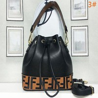 FENDI Fashion Letter Leather Handbag Shopping Shoulder Bag Bucket Bag Satchel Women
