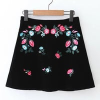 Black Velvet Flower Embroidery A-Line Skirt