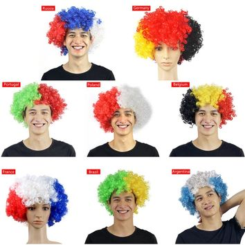 2018 Russia World Cup Flag Wild-Curl Up Headdress Fans Cheer Props For Football Team Wig Carnival Headwear Headband For Party
