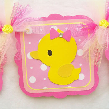 Rubber duck baby shower banner, its a girl, pinks and yellow - READY TO SHIP