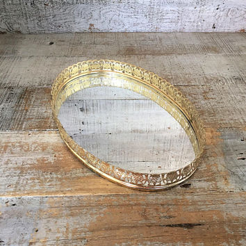 Vanity Mirror Vintage Mirror Large Gold Oval Dresser Tray Dresser Top Mirror Vintage Brass Mirror Tray Brass Wedding Decor Mid Century