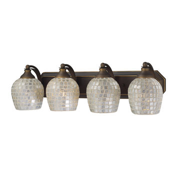 ELK 4 Light Vanity In Aged Bronze And Silver Mosaic Glass - 570-4B-SLV