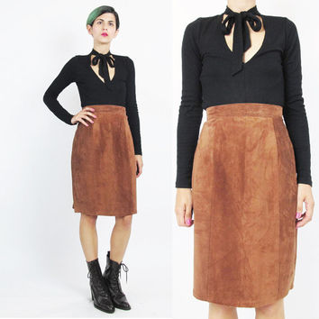 Vintage Brown Leather Skirt Suede Skirt Leather Mini Skirt High Waisted Skirt Soft Leather Pencil Skirt Minimalist Leather Skirt (S)