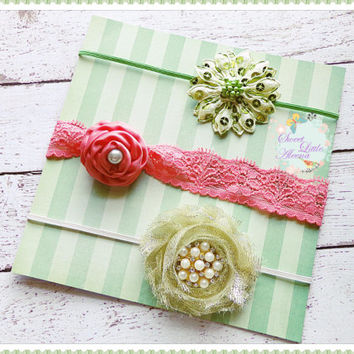Boutique Headband Set, Baby Girl Headbands, Newborn Hairband Set, Lime Coral Gold Hair Clips, Fancy Headbands, Pearl Flower Bows, Infant Bow