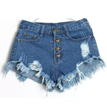 Hot Shorts 2018 1PC Women fashion Vintage High Waist Jeans Hole Short Jeans Denim  summer  #0605AT_43_3