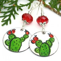 Enamel Cactus Earrings, Green Red White Boho Handmade Jewelry Gift