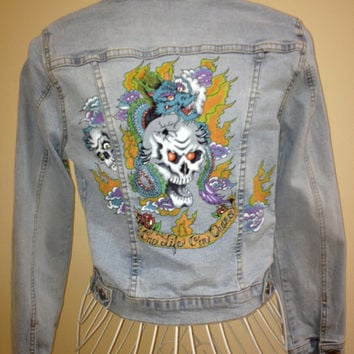 Tattoo art inspired junior's/women's hand painted denim jacket. One of a kind. Free shipping.
