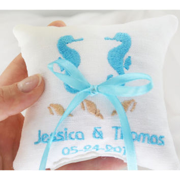 Nautical  ring pillow , seahorses and shells ring cushion ,personalized  ring pillow, ring bearer pillow,  Custom embroidery (LR26)