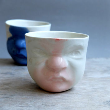 Porcelain Cup - Pink-White Baby Face / Ceramics and Pottery / Handmade by SCULPTUREinDESIGN / White color / Decor & Housewares / Funny gift