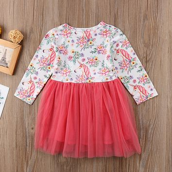 Children Dresses  Baby Girls Unicorn Horse Floral Printed Dress Fashion Long Sleeve Lace Tulle Bow knot Dress
