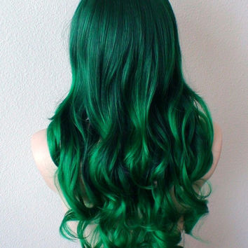 Irish Green Ombre wig. Green color Long Curly hairstyle long bangs Heat resistant synthetic wig