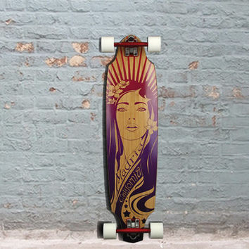 "Madrid Girl Bamboo Carving 38"" Longboard"