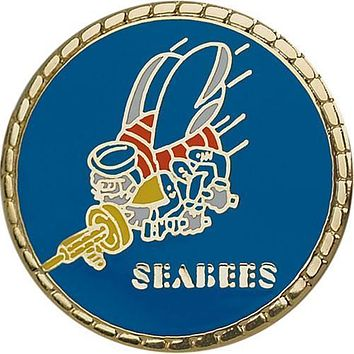 "Seabee Logo with Gold Border 7/8"" Lapel Pin"