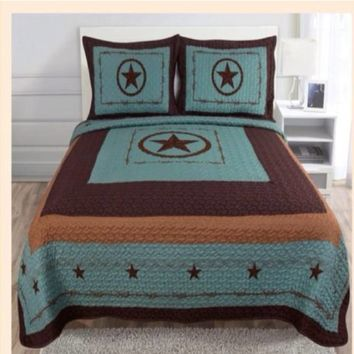 Western Style 3Pc Quilt Bedspread Comforter Set - Turquoise