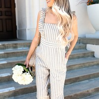 VIVIAN STRIPED RUFFLE JUMPSUIT