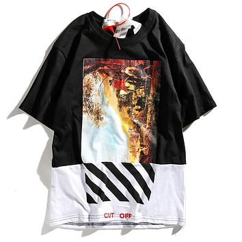 OFF White Summer Trending Women Men Personality Diagonal Stripes Spliced Arrow Painting Print Short Sleeve Round Collar T-Shirt Top I12569-1