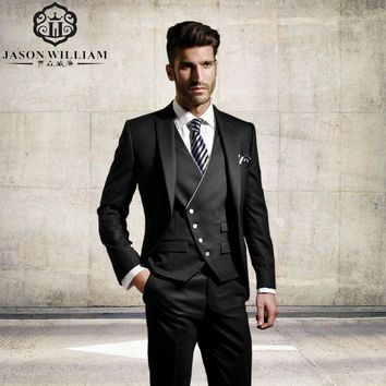 (Jacket+Pants+Tie+Vest) Custom Made Suit Men Classic Fit