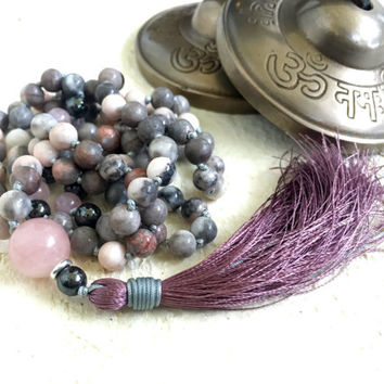 Jasper Mala Bead Necklace, Pink Zebra Jasper and Rose Quartz Mala, Gemstone Mala Beads, Silk Tassel Mala, Gemstone Knotted Mala Necklace