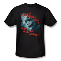 Batman Dark Knight Joker Scar Question Mens T-Shirt