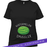 Funny Pregnancy Gift For Expecting Mothers Pregnancy Reveal Baby Announcement Maternity Shirt For Her Watermelon Smuggler Ladies Tee MAT-555