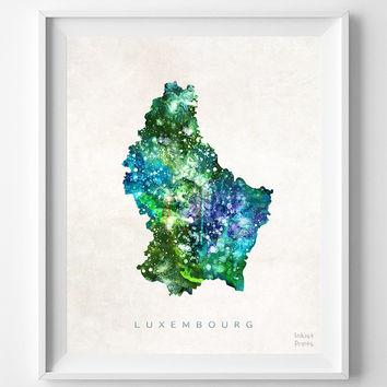 Luxembourg Map, Germany, Print, Belgium, France, Watercolor, Europe, Home Town, Poster, Country, Wall Decor, Painting, Bedroom, World
