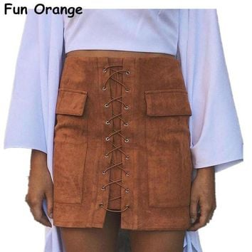 PEAP2Q lady autumn lace up suede leather women skirt 90 s vintage pocket preppy short skirt winter high waist casual skirts
