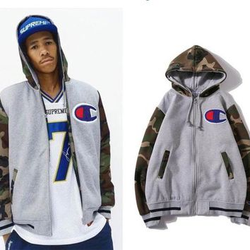 Champion Fashion Men Women Camouflage Mosaic Zipper Sweater Grey