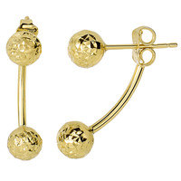 14K Yellow Hammered Finish Gold Front And Back Double Ball Belly Ring Style Earrings - 6mm Balls