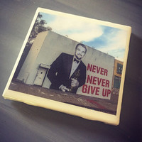Leonardo DiCaprio Winning Oscar Ceramic Tile Coaster; House Decor; House Warming Gift; Positivity Quotes; Street Art Graffiti; Never Give Up