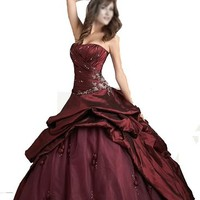Burgundy Wedding Dress Quinceanera Evening Homecoming with Jacket
