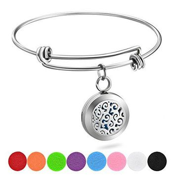 Jack amp Rose Essential Oil Diffuser Wire Bangle Bracelet Stainless Steel Aromatherapy Locket Bracelets with 8 Washable Color PadsGirls Women Jewelry Gift