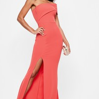 Missguided - Coral One Shoulder Maxi Dress