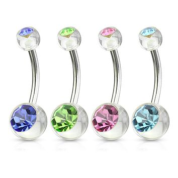 4 Pcs Value Pack of Assorted CZ Color 316L Surgical Steel WildKlass Navel Rings with Double CZ Clear Acrylic Balls