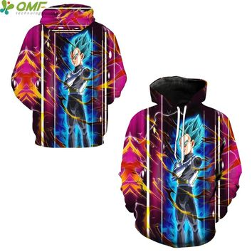 Vegeta Super Saiyan Blue 3d Print Skateboarding Hoodies Winter Running Sweatshirts Dragon Ball Z Hooded Hoody Autumn Men Coats