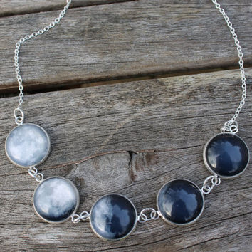 La luna - Phases of the Moon - Glass Dome Statement Necklace
