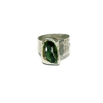Silver Metal Clay & Fused Glass Rings