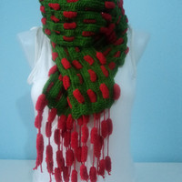 Christmas color Scarf-Autumn Winter scarf-Back to School Scarf-Unisex Long Scarf-Pompom Scarf-Green & Red Crochet Scarf-SCRF809