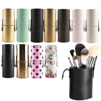 DCCKL3Z Travel Leather Makeup Brush Pen Storage Empty Holder Cosmetic Cup Case Box